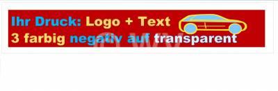 3-farbig negativ auf transparent bedrucktes Packband