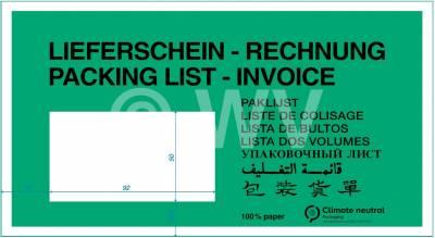 100 Stück Lieferscheintasche DIN lang Lieferschein Rechnung umweltfreundlich #